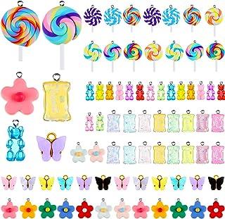 72 Pieces Gummy Colorful Bear Candy Butterfly Lollipop-Shape Flower Pendant Charms Pendants Resin Bear Lollipop-Shape Butt...