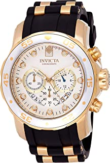 Invicta Men's 6985 Pro Diver Collection Chronograph Silver Dial Black Polyurethane Watch