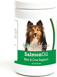 Healthy Breeds Salmon Oil Soft Chew Supplement - Over 200 Breeds - Reduce Shedding and Support Skin & Coat - Formulated with Omega 3 & 6, EPA, DHA - 90 or 120 Tasty Chews