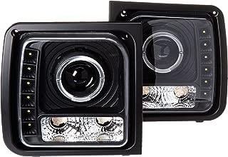 Spec-D Tuning LHP-CHKE97JM-RS Jeep Cherokee Black Projector Headlights Lamp W/Led Drl
