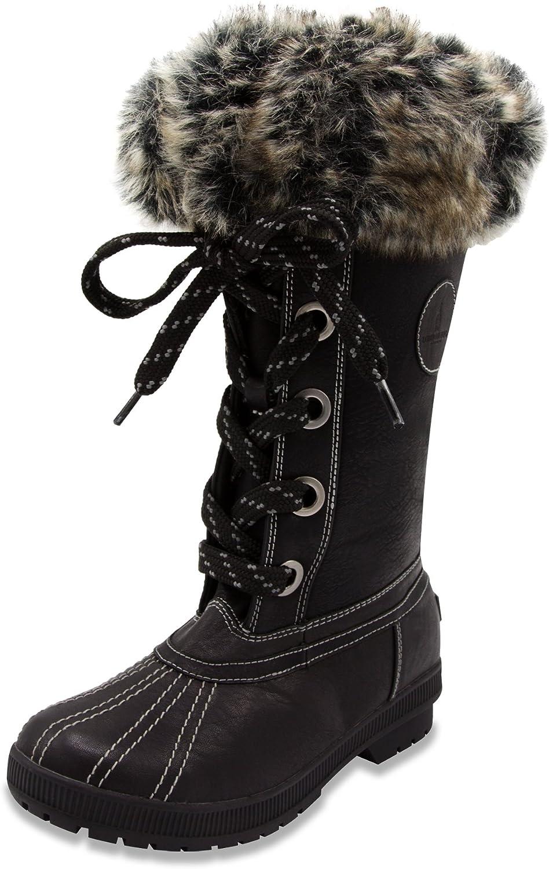 London Fog Womens Melton Cold Weather Waterproof Snow Boot Black Grey