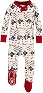 Burt's Bees Baby Baby Unisex Pajamas, Zip-Front Non-Slip Footed Sleeper PJs, Organic Cotton, Hand Drawn Snowflakes Ivory, 18 Months