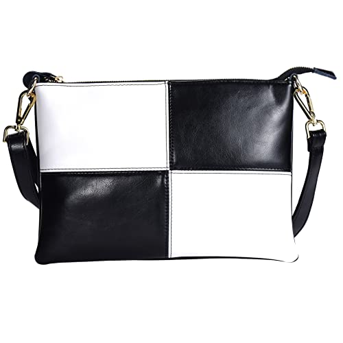 7ff271b3eb DCCN Clutch Womens Fashion Leather Handbag(Black with White)