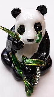 Gorgeous Panda with Bamboo Jewelled Trinket Box Jewelry Box with Inlaid Crystal, Pill Box Figurine