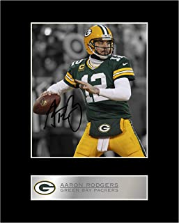 iconic pics Aaron Rodgers Signed Mounted Photo Display Green Bay Packers #01 NFL Autographed Gift Picture Print
