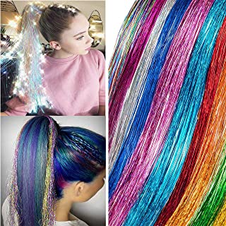 Xinxinshuyu Hair Tinsel 12 Colors 2040 Strands in Set Sparkling Shiny Hair Tinsel Extensions Colored Party Highlights Glitter Extensions Multi-Colors Hair Streak Bling (12 Colors, 45