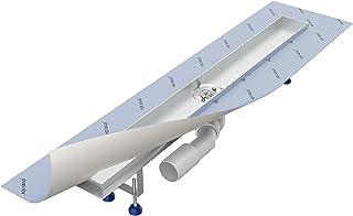 Canalina doccia 120 cm/AQUABAD® SDS Pro in acciaio INOX/con filtro per capelli/compresi: sifone orizzontale Viega / (Coper...