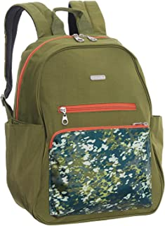 Baggallini Womens Cargo Backpack with Laptop Pocket Green Scatter