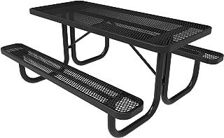 CoatedOutdoorFurniture T6-BLK Heavy Duty Rectangular Portable Picnic Table, 6 Feet, Black, Made in America