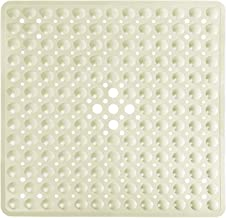 Yimobra Square Bathtub Shower Mat Non-Slip Suction Cups with Drain Holes Machine Washable 21 x 21 Inches (Beige)