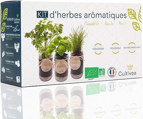 Cultivea – Kit Prêt à Pousser d'Herbes Aromatiques – Graines Françaises 100% Écologiques et Bio – Jardin potager d'in...