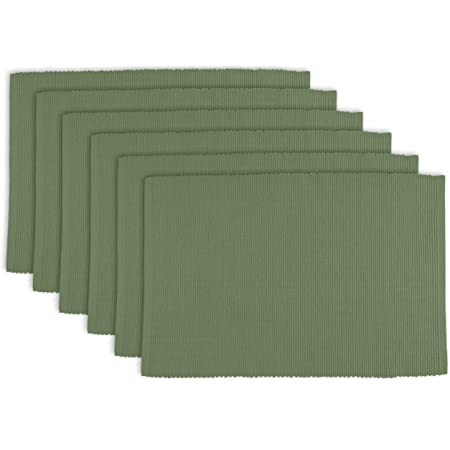 Dii 100 Cotton Basic Ribbed Placemat Set Set Of 6 Sage 6 Count Home Kitchen