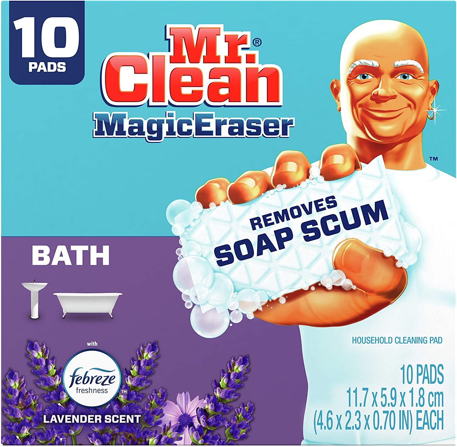 Mr. Clean Magic Eraser, Bathroom and Shower Cleaner with Febreze Lavender Scent, Cleaning Pads with Durafoam, 10 Count : Health & Household