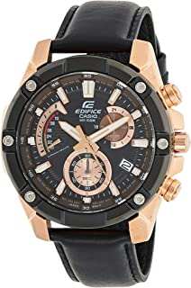 Casio Men'S Black Dial Leather Band Watch - Efr-559Bgl-1Avuef,