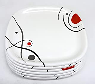 Avora Kitchenware Melamine Serving Set, Square Shape with Red Point Color Printed Design Half Plates, Full Plates, Bowl Di...