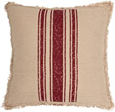 VHC Brands Farmhouse Holiday Pillows & Throws - Vintage Burlap Stripe White 18 x 18 Pillow, Red