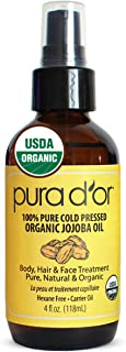 PURA D'OR Organic Golden Jojoba Oil (4oz / 118mL) USDA Certified Premium Grade 100%..