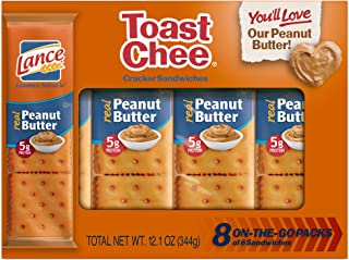 Lance Toast Chee Crackers with Real Peanut Butter, 6 Crackers/pack (8 Pack Tray) 12 Oz. Net