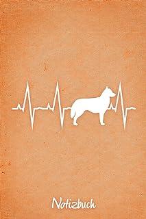 Notizbuch: Oranges Punktraster Sibirischer Husky Herzschlag Hunde Notizheft ca DIN A5 weiß punktiert 110 Seiten