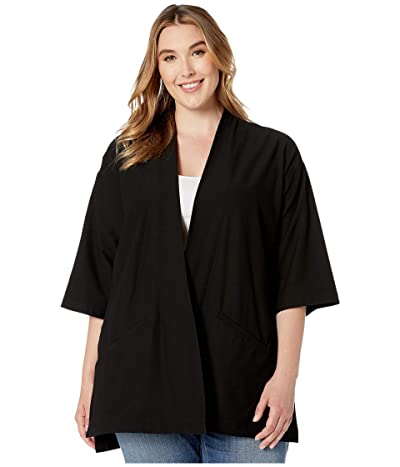 Eileen Fisher Plus Size Washable Stretch Crepe Kimono Jacket (Black) Women