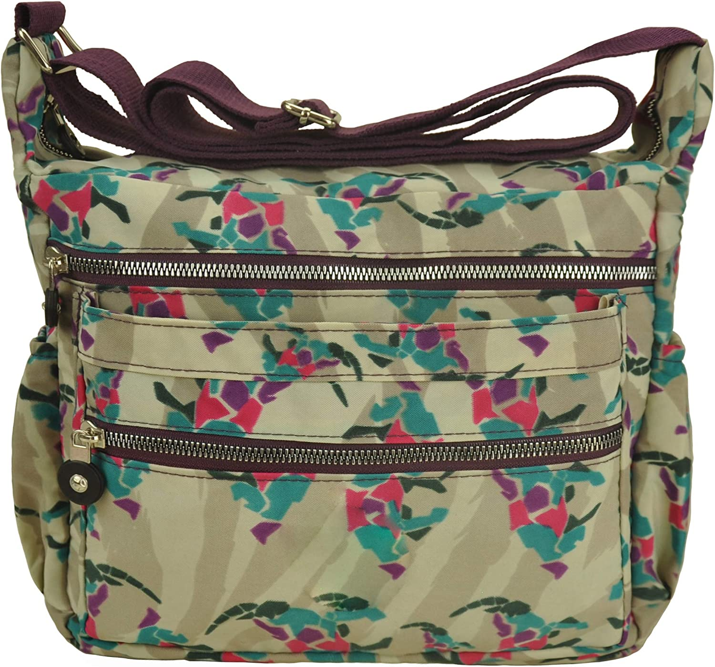 Multi Pocket Crossbody Bag Lightweight Travel Purse Volganik Rock Nylon Waterproof Shoulder Handbag