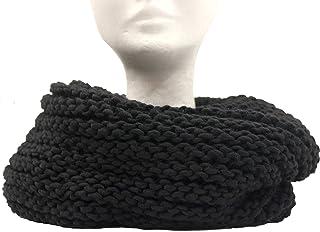 CG - Talento Fiorentino, scaldacollo tubolare lavorato a maglia, invernale, sciarpa ad anello intrecciato col. Nero, unise...