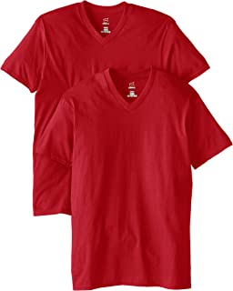 Hanes Men's Nano Premium Cotton V-Neck T-Shirt (Pack of 2)
