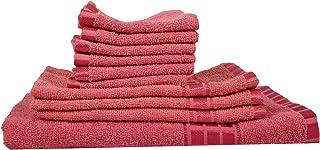 Eurospa Set of 10 Cotton Bath + Hand + Face Towel Set Pink