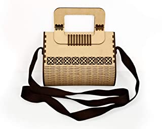MRN Women Girls Ethnic Wooden Purse Bridal Clutch Vintage Style Wallet Party Cross Body Bag Unique Gift