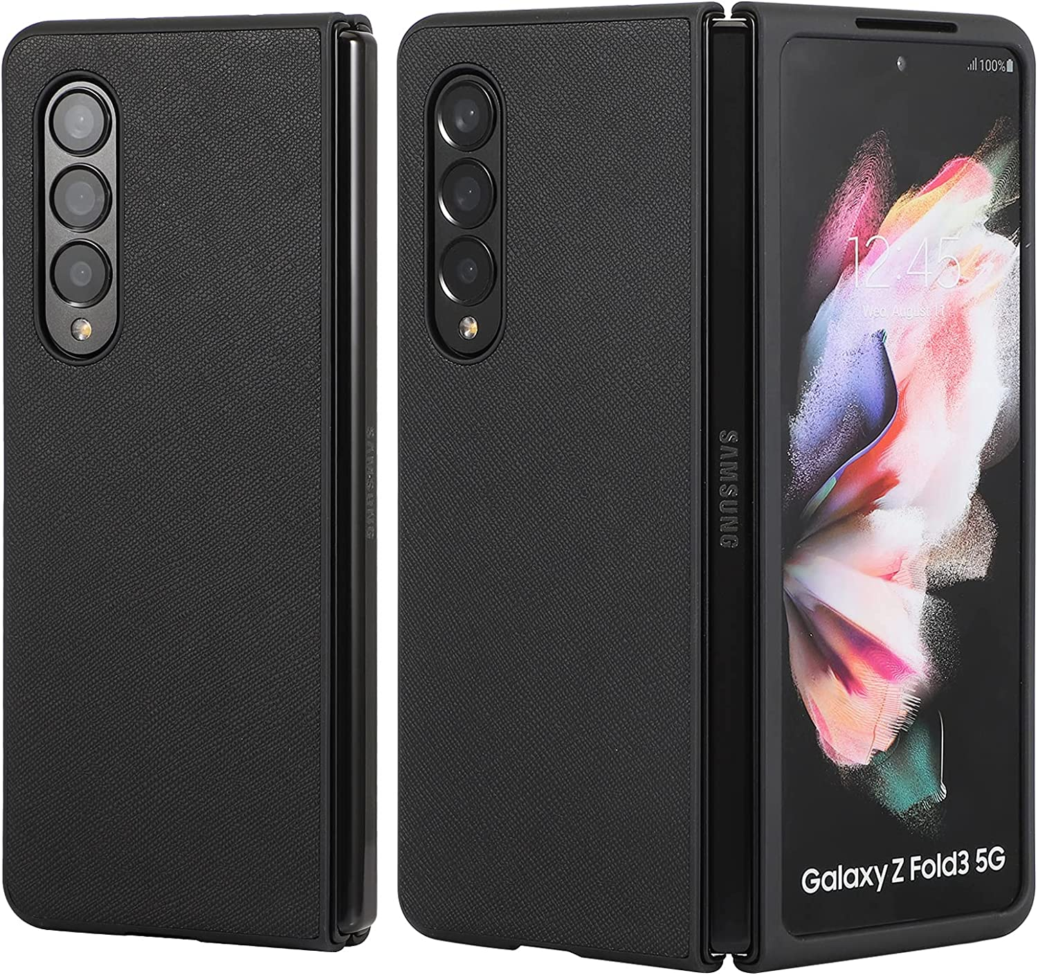 Designed for Samsung Galaxy Z Fold 3 Case, Phone Case for Galaxy Z Fold 3, Premium Leather+PC Protective Phone Cover Compatible with Z Fold 3 5G (2021)