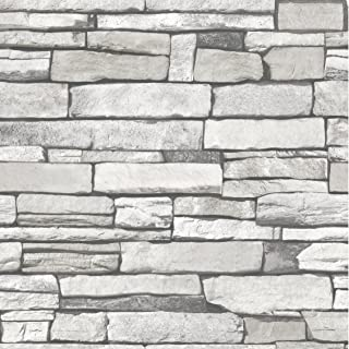Very Berry Sticker Natural Stacked Grey Stone Brick Pattern Vinyl Self-Adhesive Peel-Stick Wallpaper