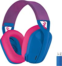 هدست بازی بی سیم Logitech G435 Lightspeed و Bluetooth - هدفون سبک وزن روی گوش ، میکروفون داخلی ، باتری 18 ساعته ، سازگار با Dolby Atmos ، رایانه شخصی ، PS4 ، PS5 ، موبایل - آبی