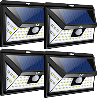 LE 44 LED Solar Powered Lights Outdoor with Motion Sensor, 3 Optional Lighting Modes, 270 Degree Angle, Daylight White 6000K, 4W 550LM, for Garden, Fence, Driveway, Front Door and More, Pack of 4