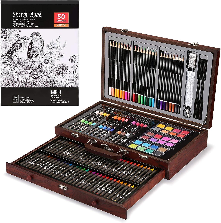 Conjunto de arte, AGPtEK Conjunto de arte de lujo de 141 piezas, Estuche de madera para pintura y kit de suministros de arte con crayones, lápices de colores, lápices de dibujo, sacapuntas y borrador