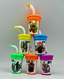 6 Star Wars Yoda, Darth Vader, Chewbacca Stickers Birthday Sipper Cups with lids Party Favor Cups
