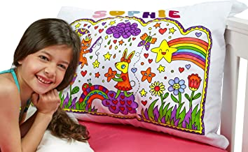 Let's Create My PillowArt DIY White Pillow Case Standard Size – Paint & Make Your Own Pillowcase Art & Crafts Kits for Children   Party Favor Set, Sleepovers, Birthdays   for Girls & Boys Ages 4+