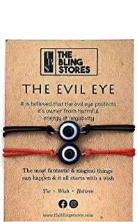 The Bling Stores 2 Pcs Handmade Evil Eye Nazariya Bracelet for Unisex Adult Keeps you safe and secure from Evil & Negative...