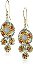 product image for Miguel Ases Neutral and Swarovski Triple Circle Small Drop Earrings