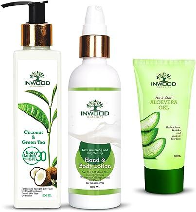 Inwood Organics Combo Kit of Coconut and Green Tea Refreshing Body Lotion - 200 ML | Skin Whitening & Brightening Body Lotion - 100 ML | Pure & Natural Aloe Vera Gel - 60