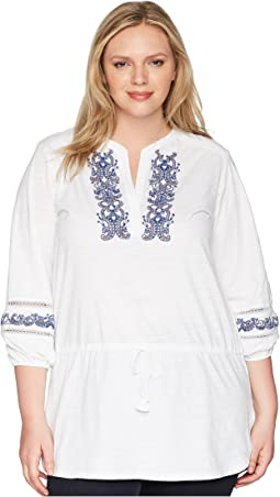 Plus Size Embroidered Cotton Top