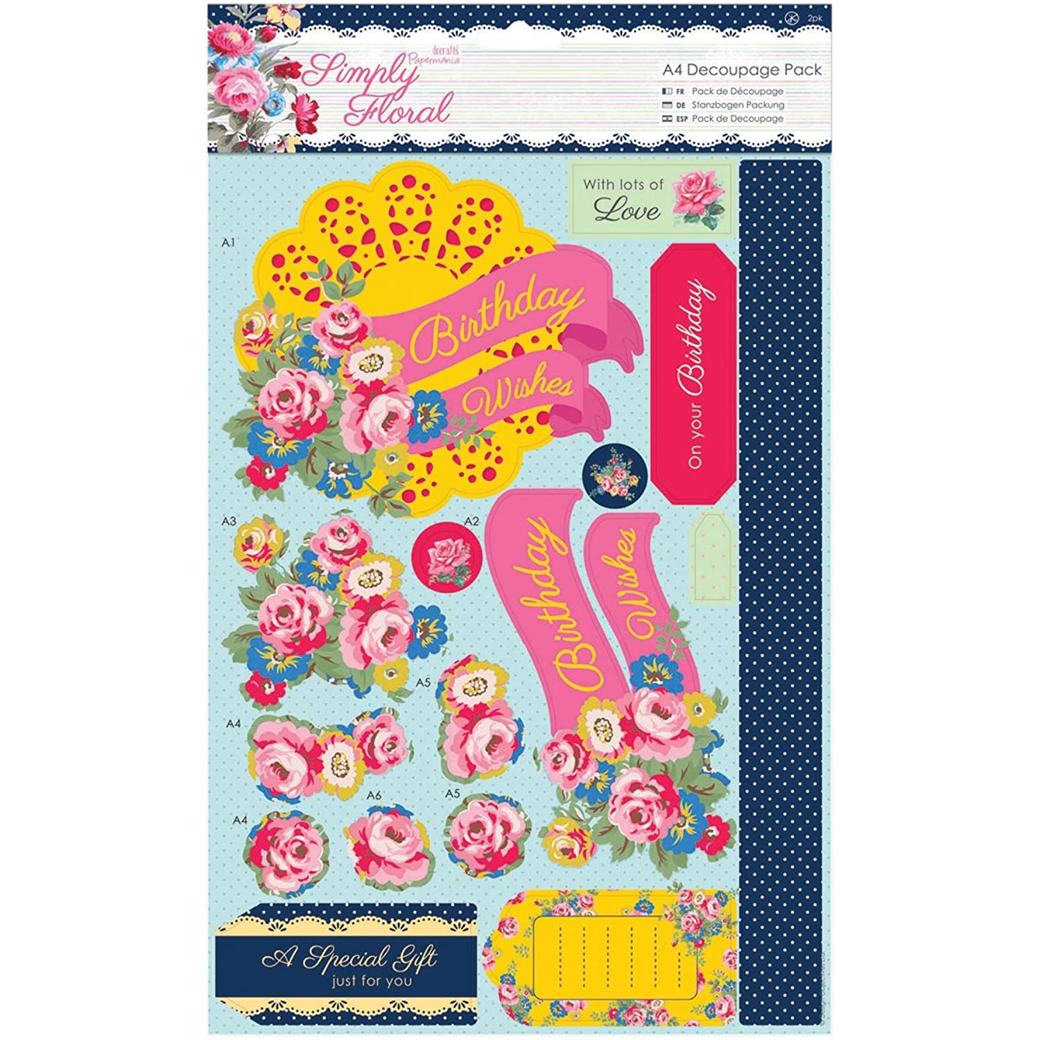 DOCrafts Papermania Simply Floral A4 Decoupage Pack, Bright Blooms
