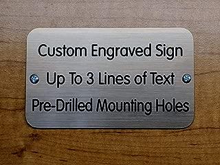 Custom Engraved 3x5 Sign with Mounting Holes + Screws | Brushed Metal Finish | Fence-Mount, Shed Garage Shop Garden Landscape Deck Built by Plaque Trophy (Brushed Bronze)