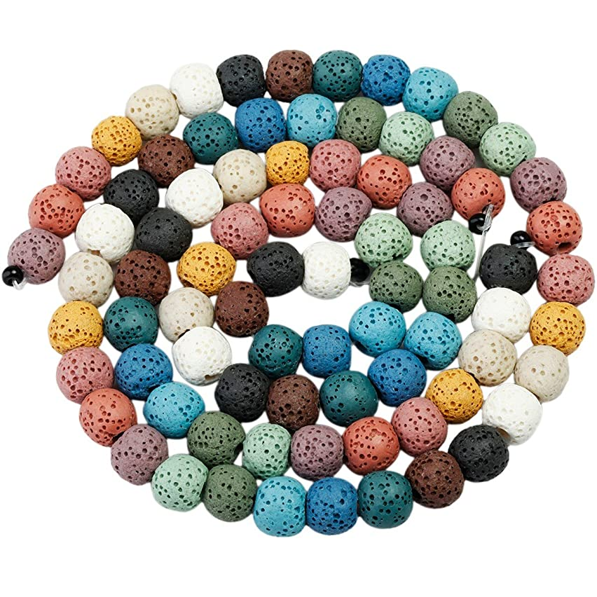 rockcloud 8mm Colorful Lava Rock Stone Gemstone Beads Round Loose Beads 14 inch for Jewelry Making Findings Accessories