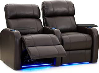 Octane Seating Diesel XS950 Theater Chairs for Home Brown Top-Grain Leather - Power Recline - Accessory Dock - Space Saver - Memory Foam - Straight Row of 2 Seats