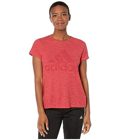 adidas Winners Short Sleeve Crew Tee (Glory Red Melange) Women