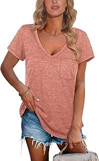 Womens T Shirts Deep V Neck Short Sleeve Pocket Tops Side...