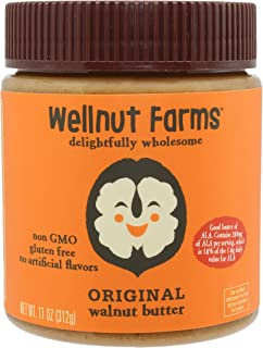 Sponsored Ad - Wellnut Farms Creamy Walnut Butter, Original, 11 Ounce, Gluten Free, Keto Friendly, Omega 3, Vegan