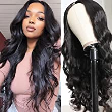 UNice Hair U Part Human Hair Wig Body Wave for Black Women Brazilian Virgin Hair Glueless without Sewing EasytoInstall Wigs 150% Density (18 inch)