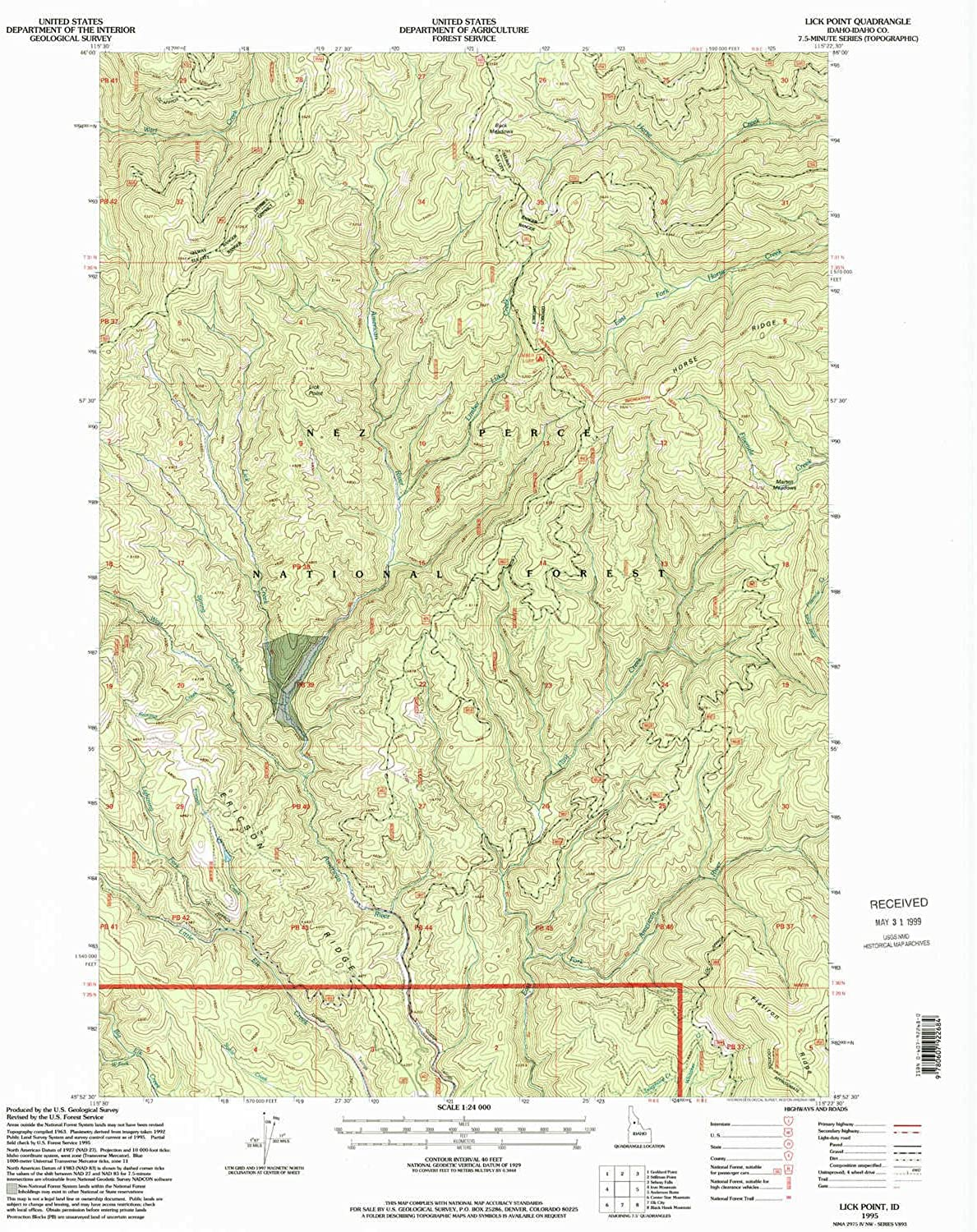 Lick Point ID topo map, 1 24000 Scale, 7.5 X 7.5 Minute, Historical, 1995, Updated 1999, 26.9 x 22 in
