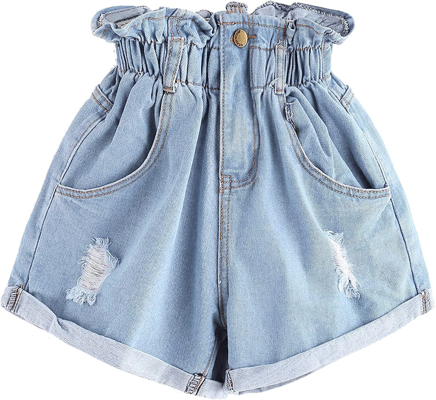 Milumia Women's Casual High Waisted Hemming Denim Jean Shorts with Pockets